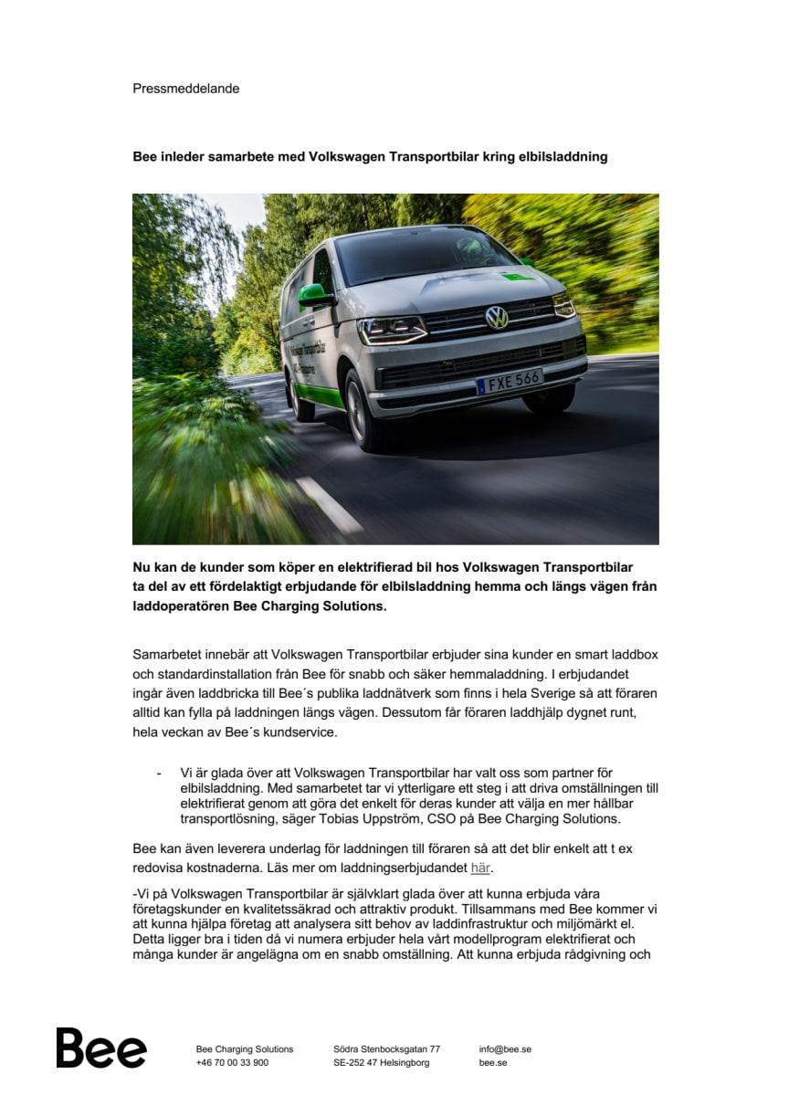 Bee inleder samarbete med Volkswagen Transportbilar kring elbilsladdning