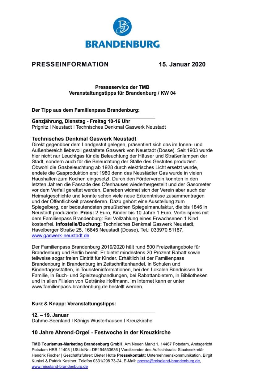 Veranstaltungstipps für Brandenburg / KW 04