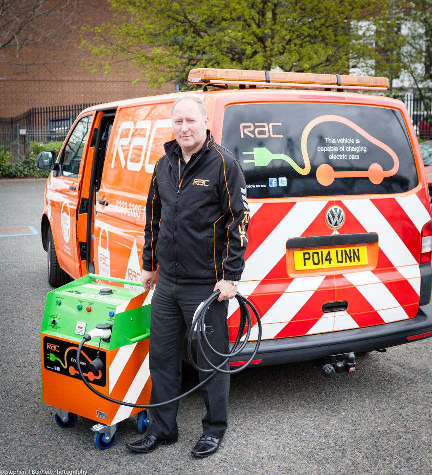 Tim Hartles demonstrates the RAC's new electric charger