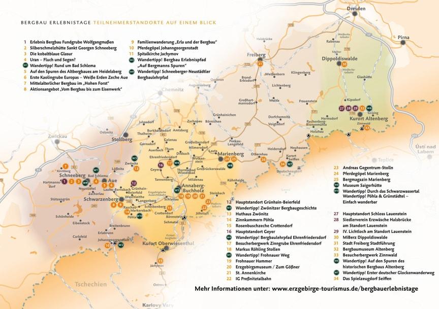 Übersichtskarte Teilnehmerstandorte Bergbau Erlebnistage 2019
