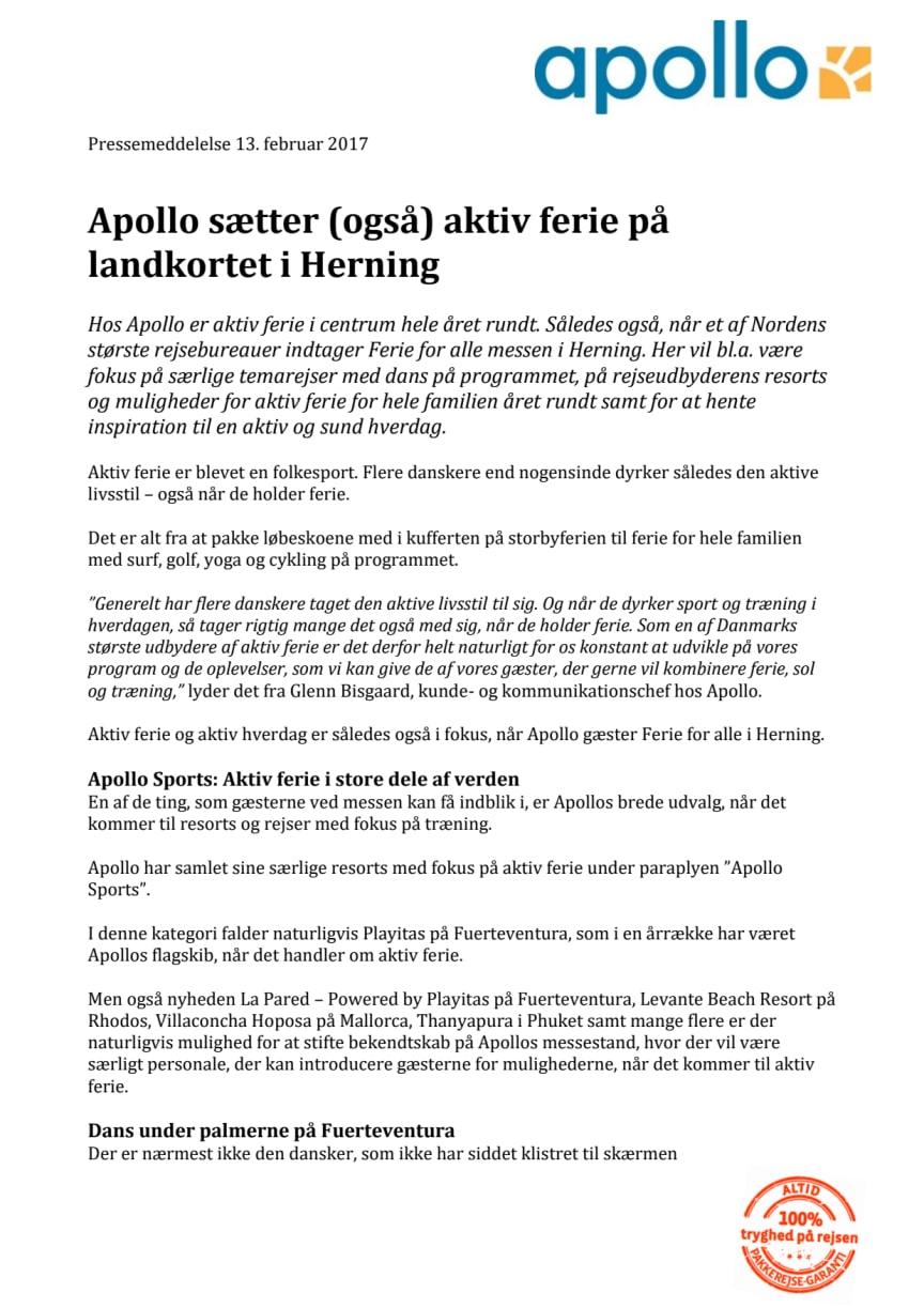 Apollo sætter (også) aktiv ferie på landkortet i Herning