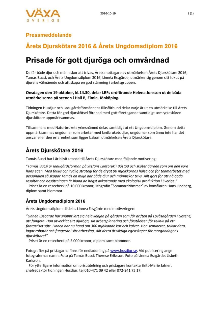 Årets Djurskötare 2016 & Årets Ungdomsdiplom 2016: Prisade för gott djuröga och omvårdnad
