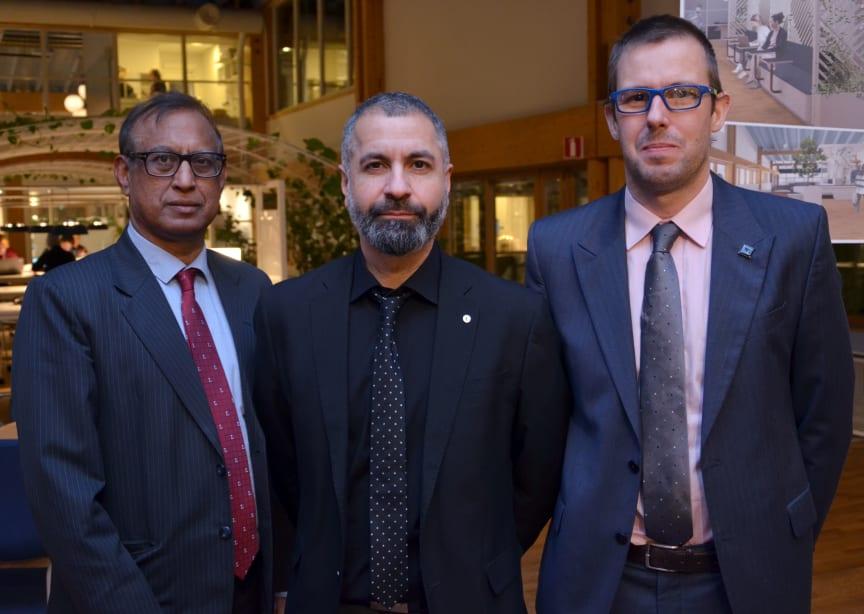 Uday Kumar, professor i drift- och underhållsteknik,Ramin Karim, professor i drift- och underhållsteknik och Miguel Castano, forskare i drift- och underhållsteknik vid Luleå tekniska universitet.
