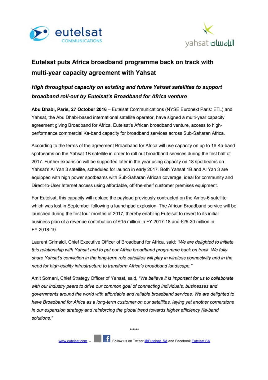 Eutelsat puts Africa broadband programme back on track with  multi-year capacity agreement with Yahsat