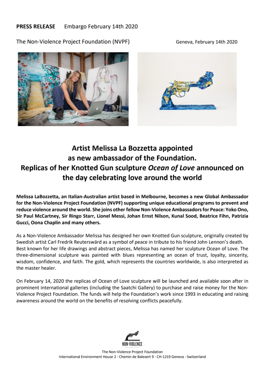 "Replicas of Melissa La Bozzetta's Knotted Gun sculpture ""Ocean of Love"" announced on the day celebrating love around the world"