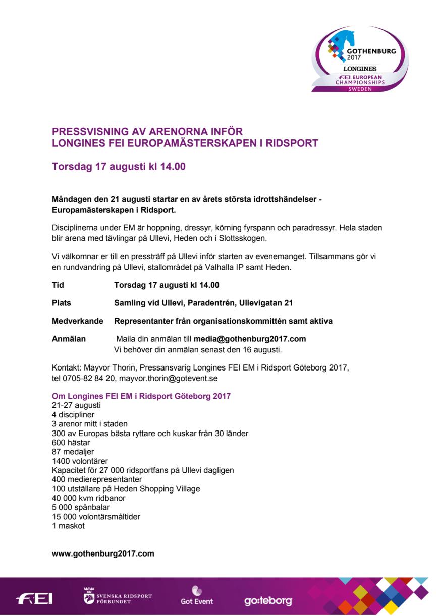 Pressvisning av arenorna inför  Longines FEI Europamästerskapen i Ridsport