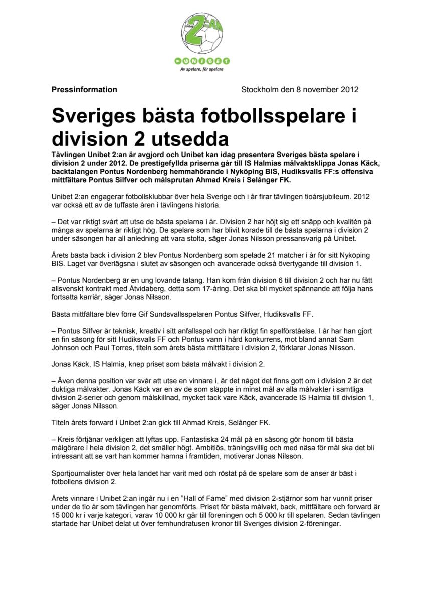 Sveriges bästa fotbollsspelare i division 2 utsedda