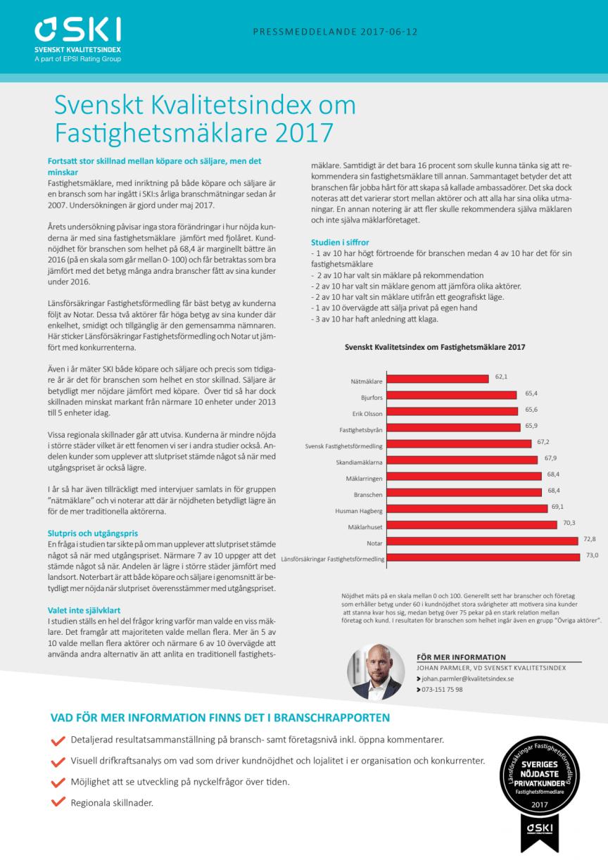 Svenskt Kvalitetsindex om Fastighetsmäklare 2017