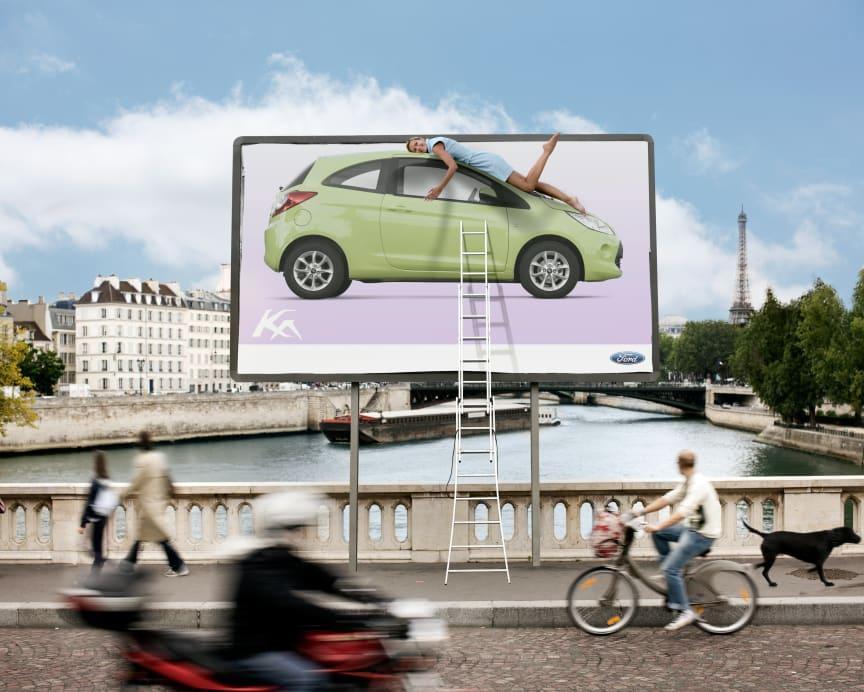 Ford Ka som elskelig outdoor reklame