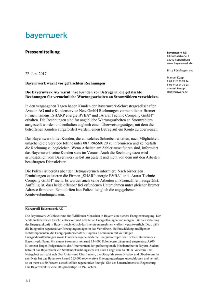 Bayernwerk warnt vor gefälschten Rechnungen