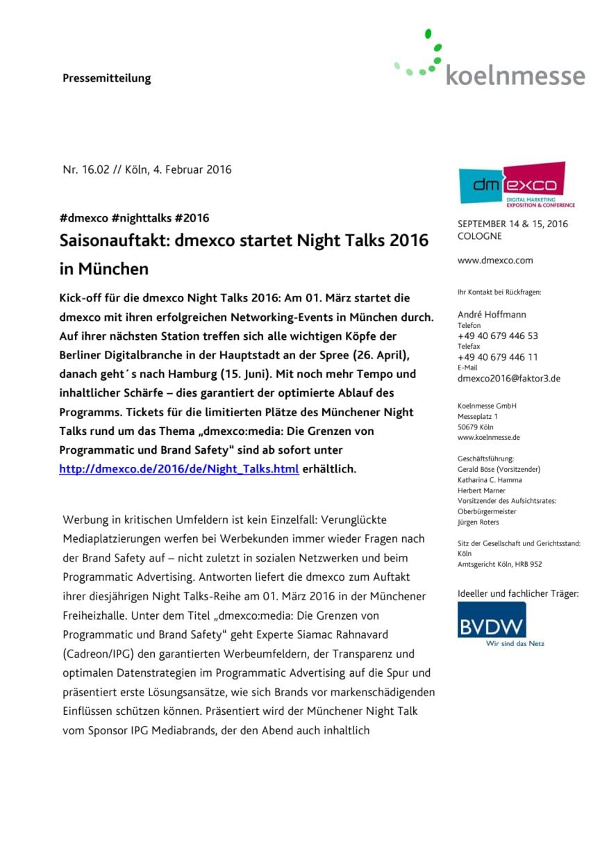 Saisonauftakt: dmexco startet Night Talks 2016 in München