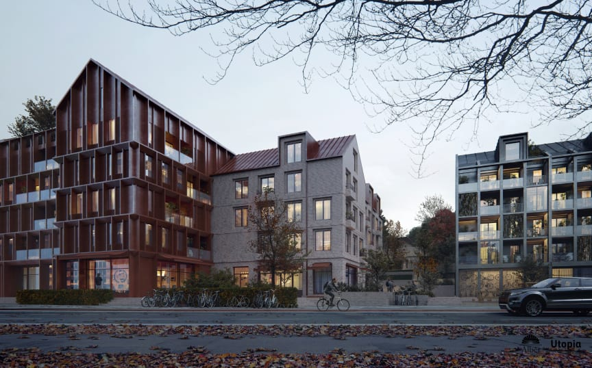 Arkitektskiss av bostäder i slänten mellan Kasernhöjden och Tingvalla isstadion