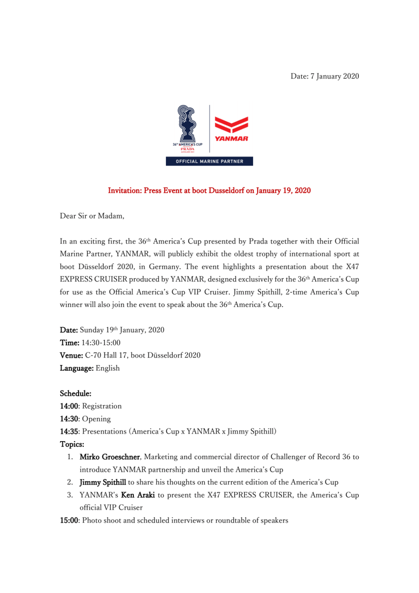Invitation: Press Event at boot Dusseldorf on January 19, 2020
