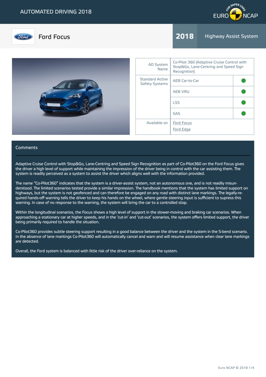 Automated Driving 2018 - Ford Focus datasheet - October 2018