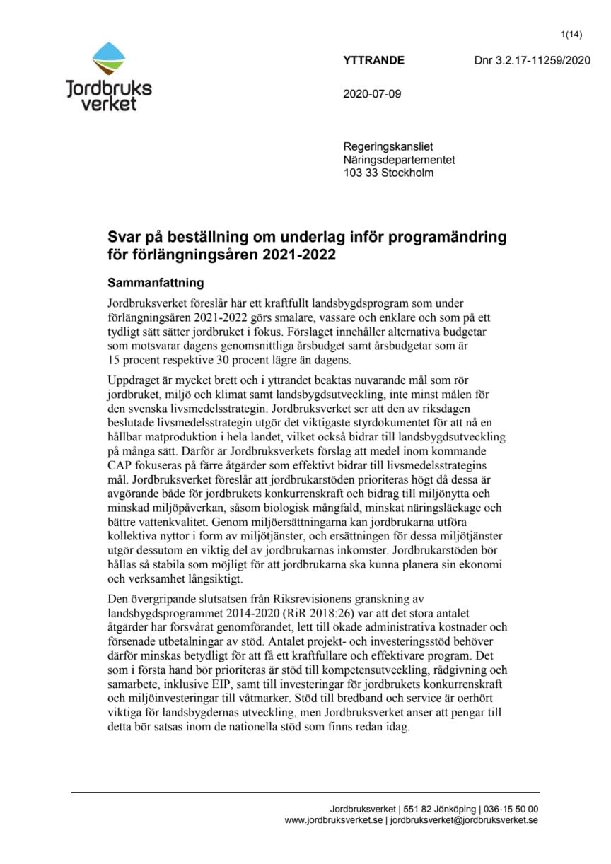 Yttrande om programändring för övergångsåren LBP