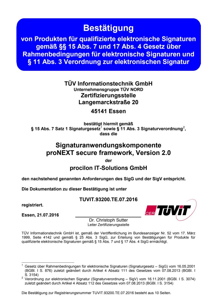 TÜV-IT Zertifikat proNEXT Secure Framework 2.0