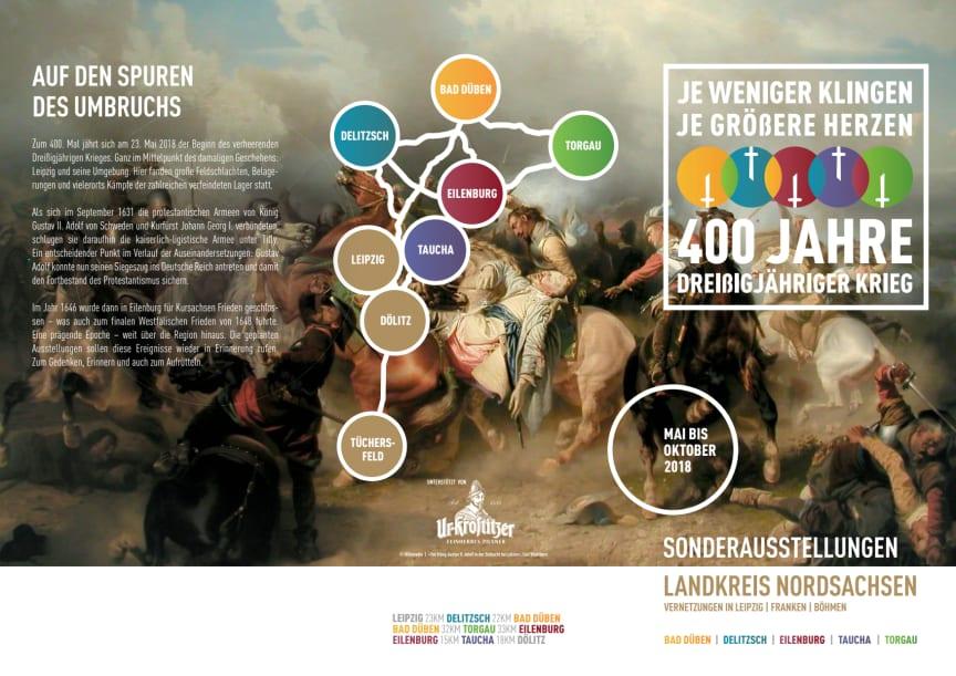"""Flyer: Sonderausstellungen """"Je weniger Klingen, je größere Herzen - 400 Jahre Dreißigjähriger Krieg"""""""