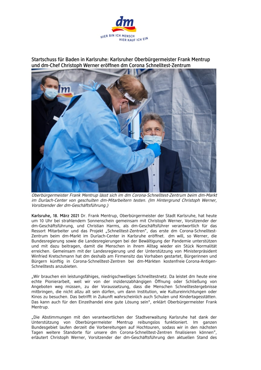 Startschuss für Baden in Karlsruhe: Karlsruher Oberbürgermeister Frank Mentrup  und dm-Chef Christoph Werner eröffnen dm Corona Schnelltest-Zentrum