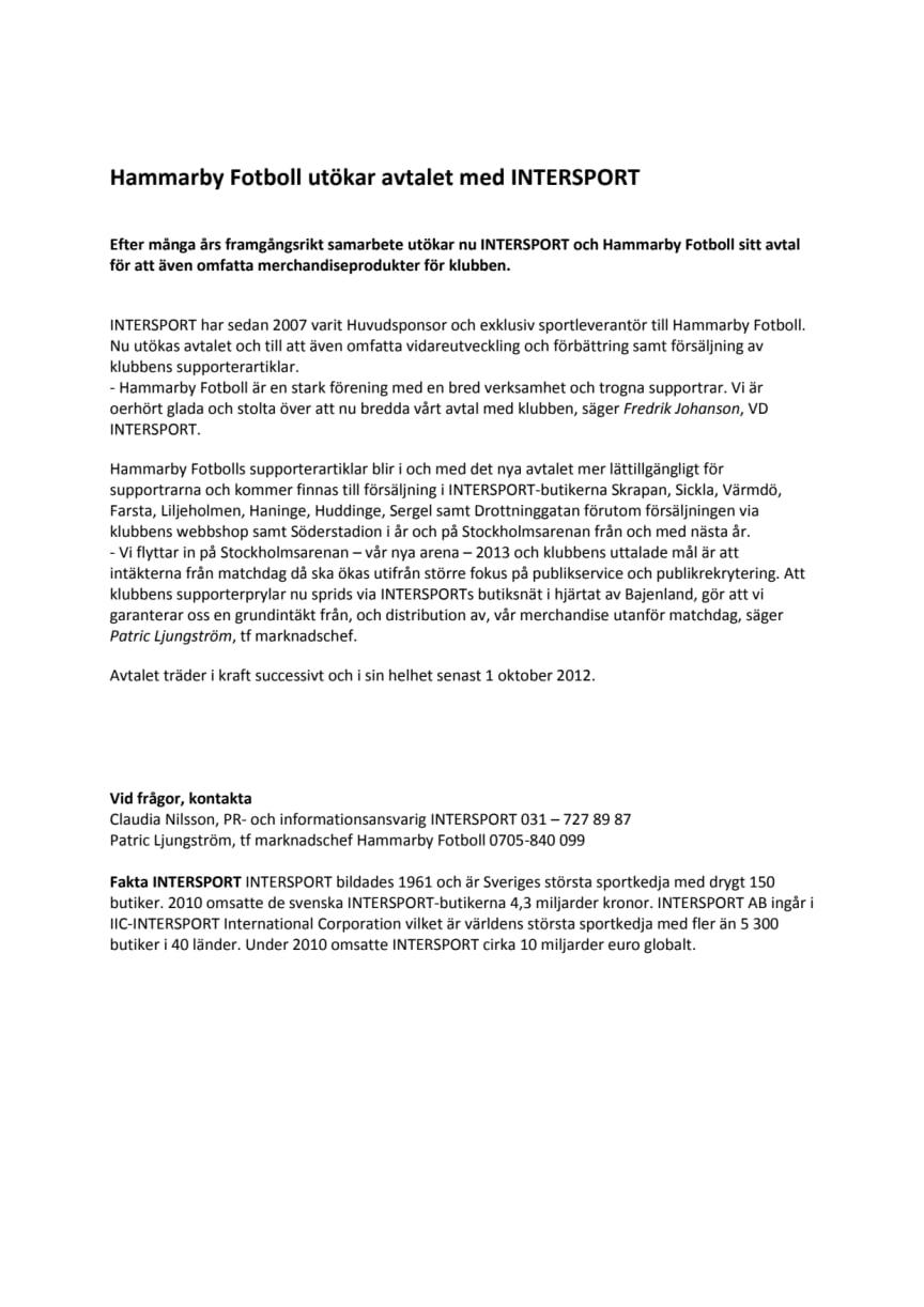Hammarby Fotboll utökar avtalet med INTERSPORT