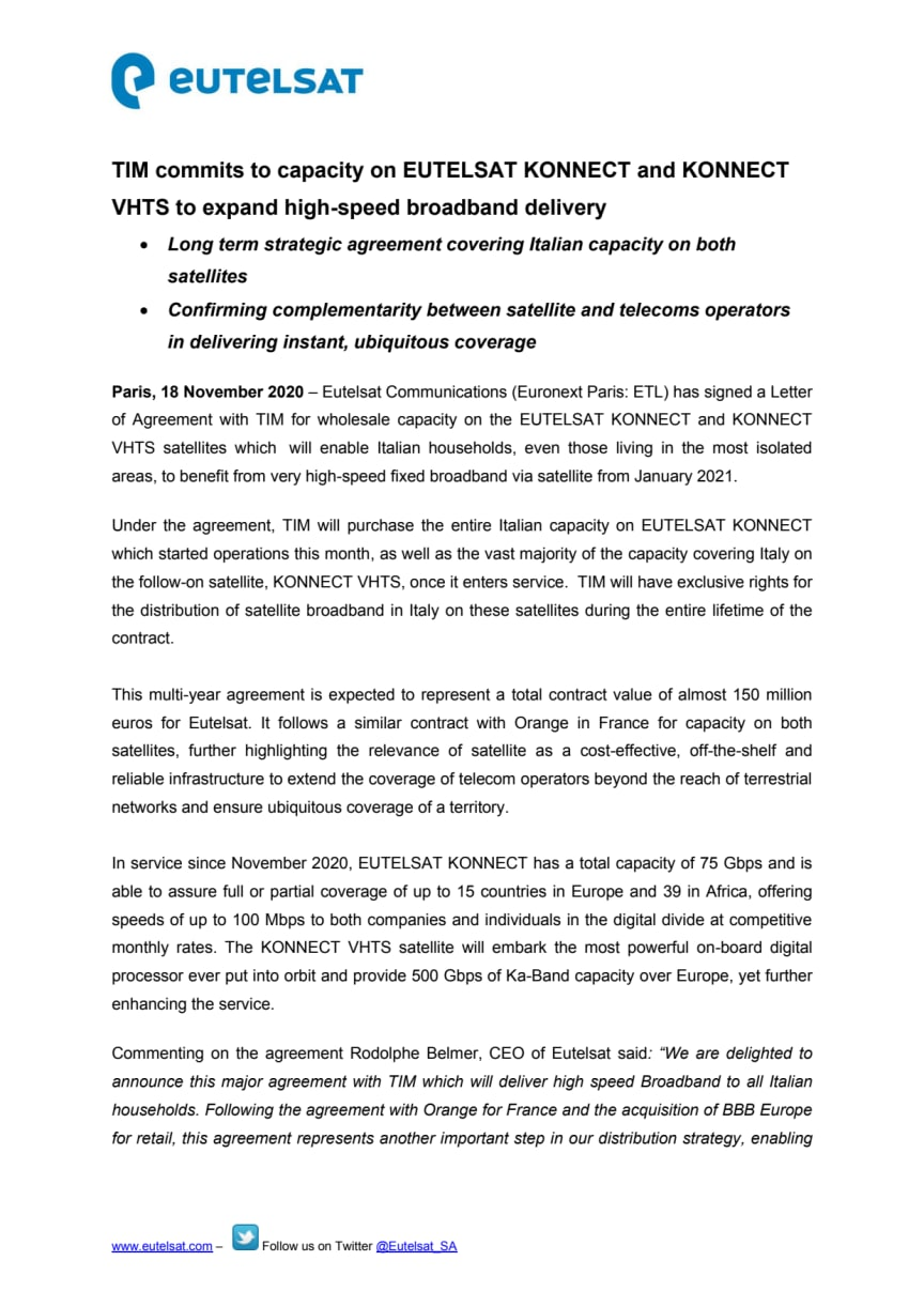 TIM commits to capacity on EUTELSAT KONNECT and KONNECT VHTS to expand high-speed broadband delivery