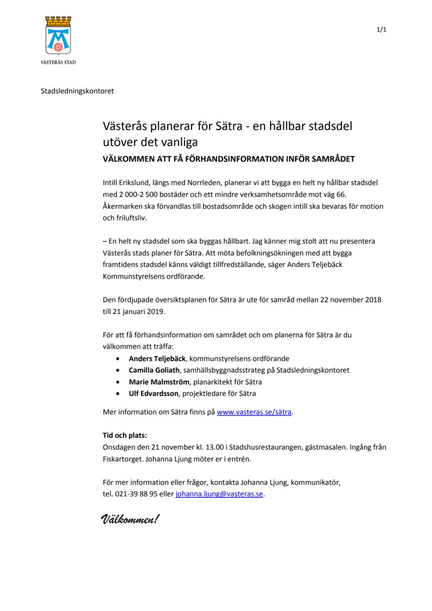 Pressinbjudan: Förhandsinformation inför samrådet för nya stadsdelen Sätra