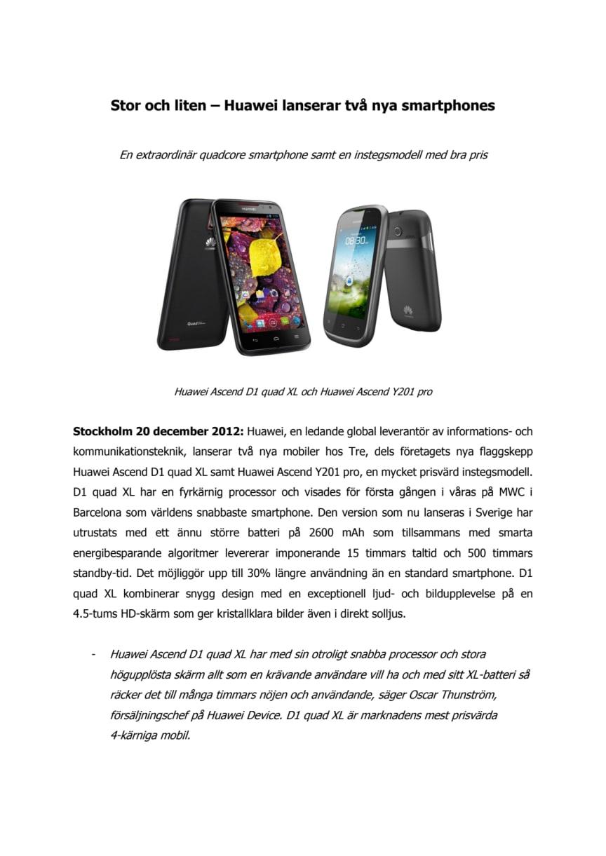 Stor och liten - Huawei lanserar två nya smartphones