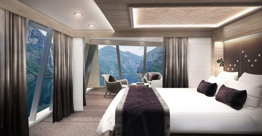 Corner suite MS Maud - photo credit Hurtigruten