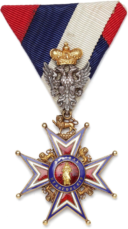 """Montenegro, """"Order of Saint Peter of Cetinje"""" af Vincent Mayer af guld, sølv og emalje. Markeret med VM og A for Vienna."""