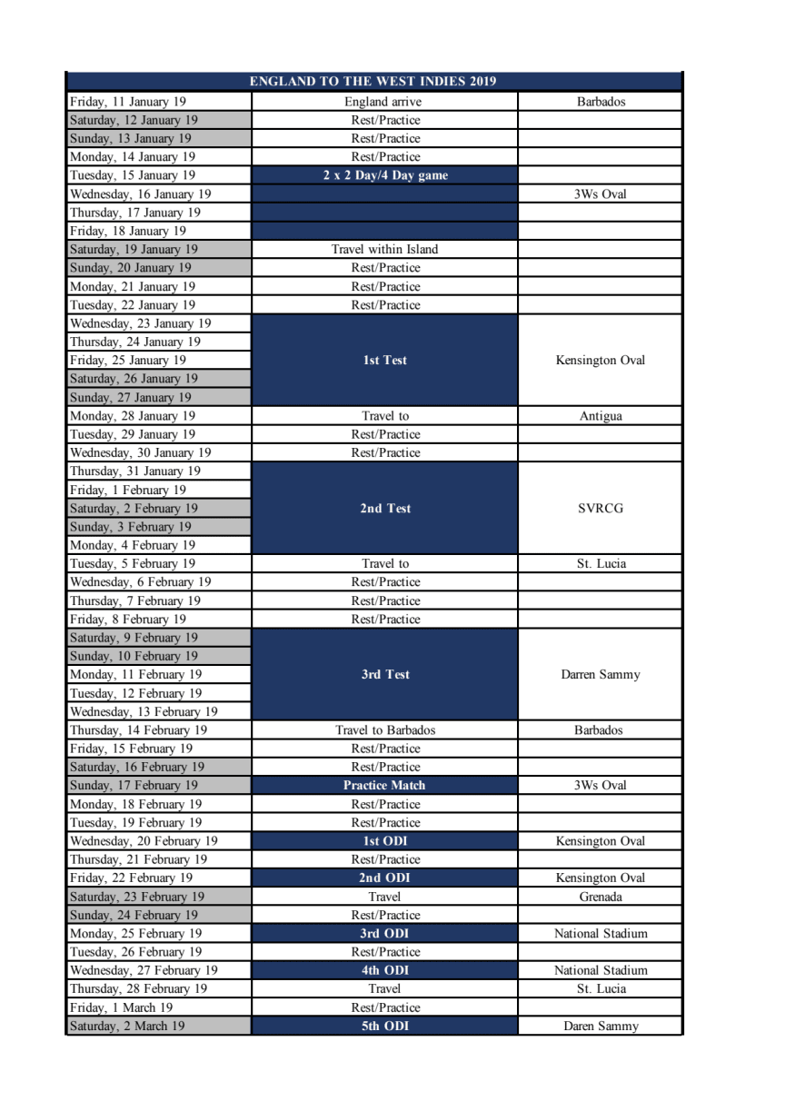 England to West Indies 2019 Schedule