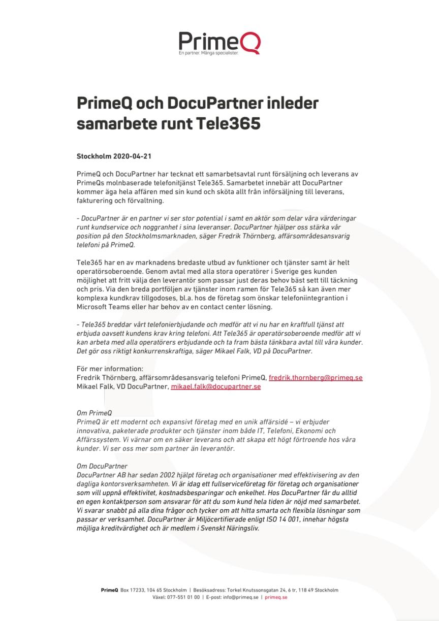 Pressmeddelande PrimeQ Docupartner