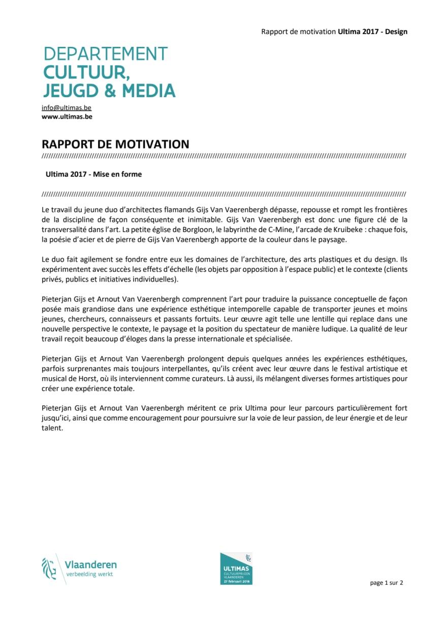 Rapport de motivation Ultimas 2017_Design