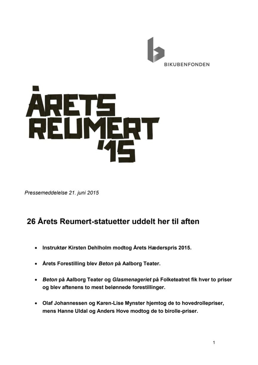 26 Årets Reumert-statuetter uddelt her til aften