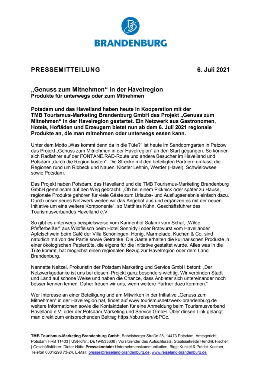 """Projekt """"Genuss zum Mitnehmen"""" in der Havelregion gestartet"""