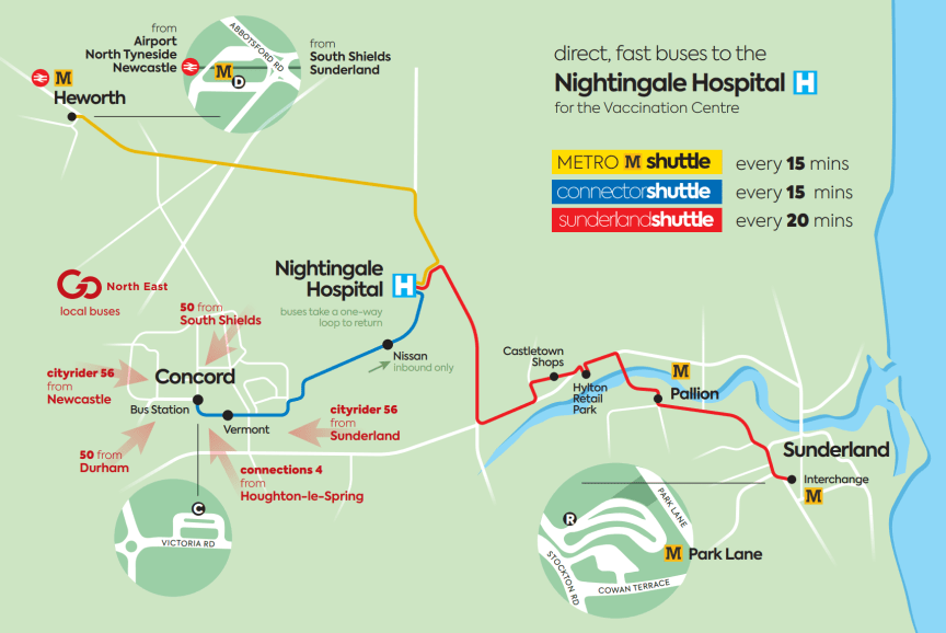 Nightingale Hospital vaccination centre map