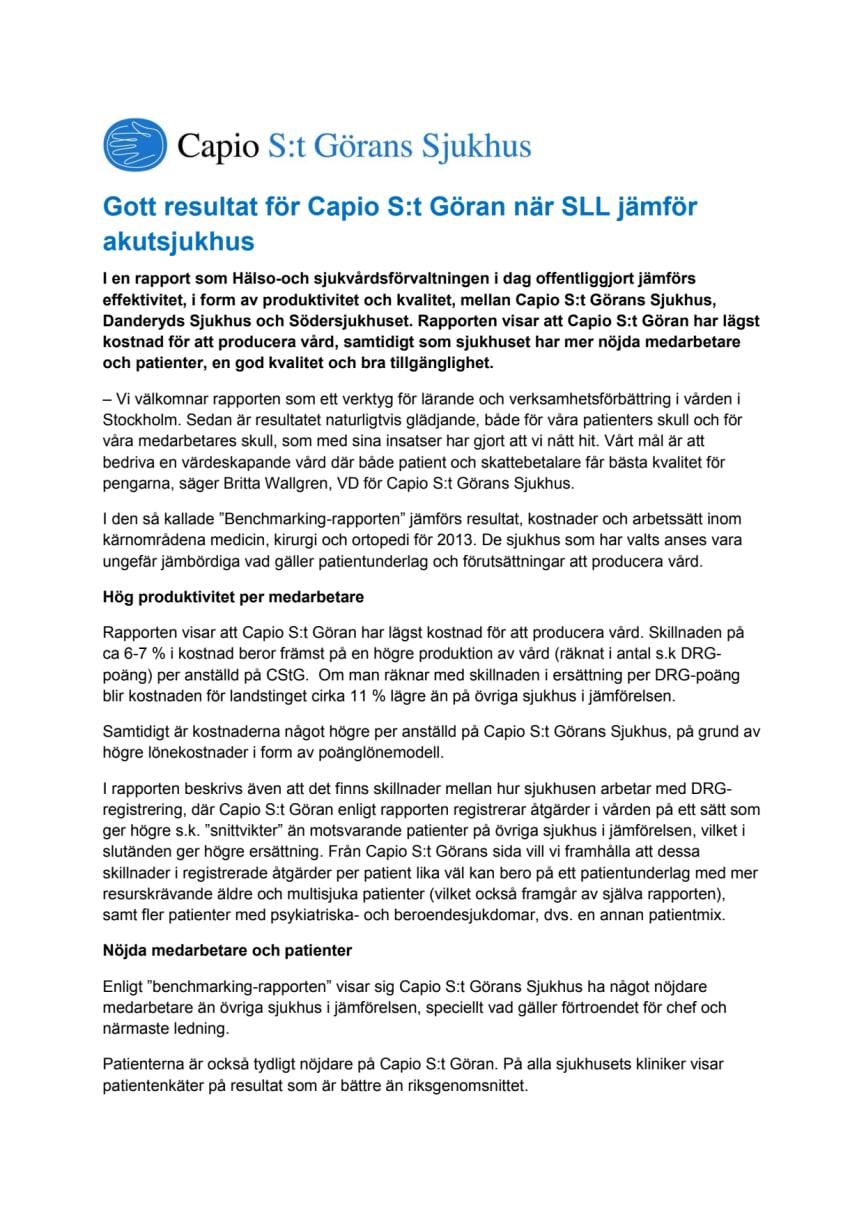 Gott resultat för Capio S:t Göran när SLL jämför akutsjukhus
