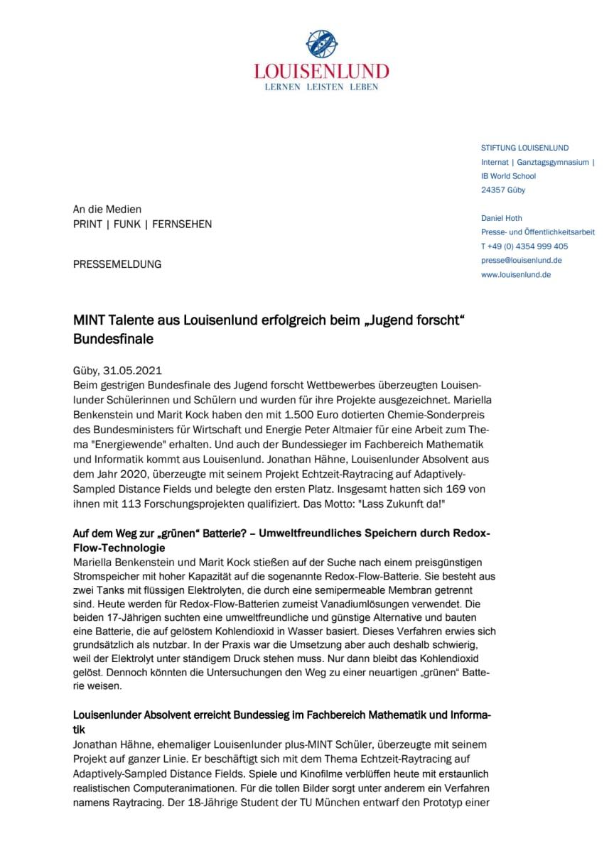 """PRESSEMITTEILUNG: MINT Talente aus Louisenlund erfolgreich beim """"Jugend forscht"""" Bundesfinale"""