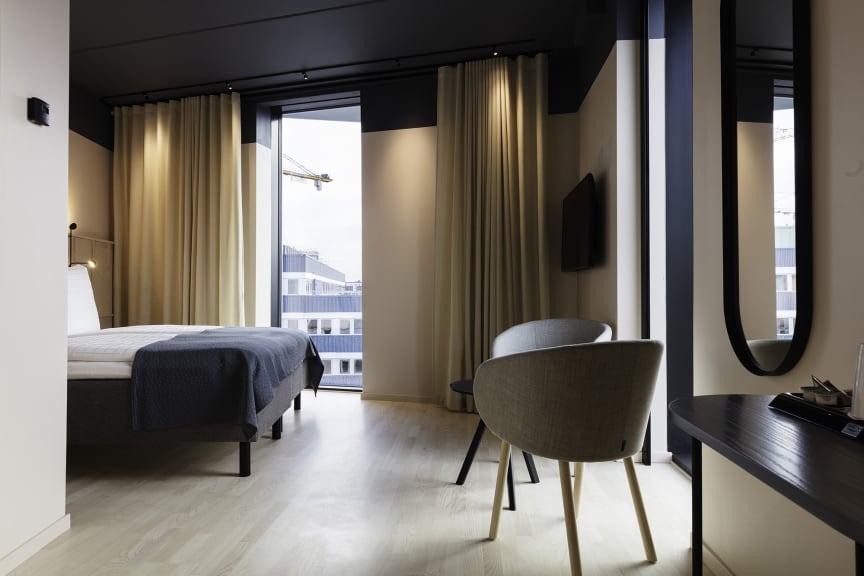 Ett av rummen på Grow Hotel