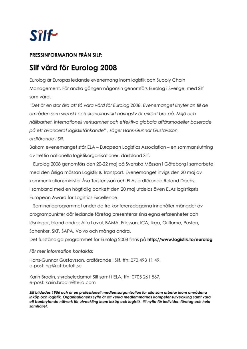 Silf värd för Eurolog 2008