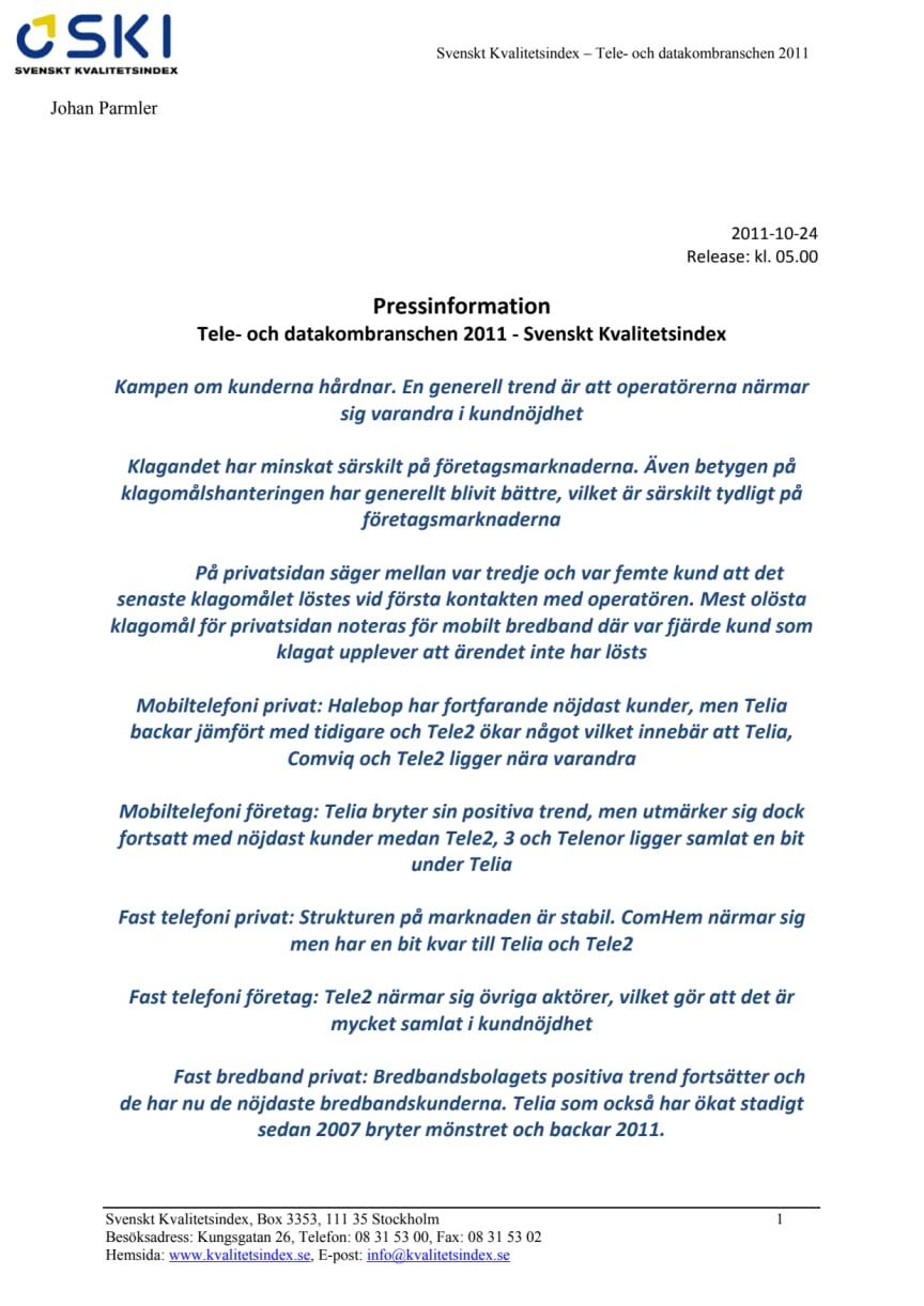 Tele- och datakombranschen 2011 - Svenskt Kvalitetsindex