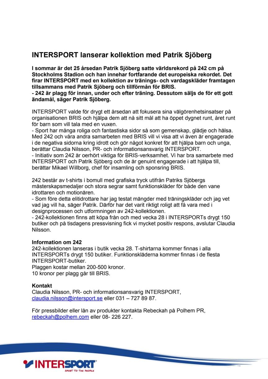 INTERSPORT lanserar kollektion med Patrik Sjöberg