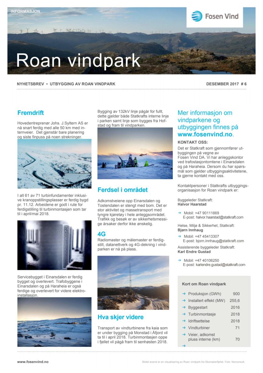 Nyhetsbrev Roan vindpark #6 - 2017
