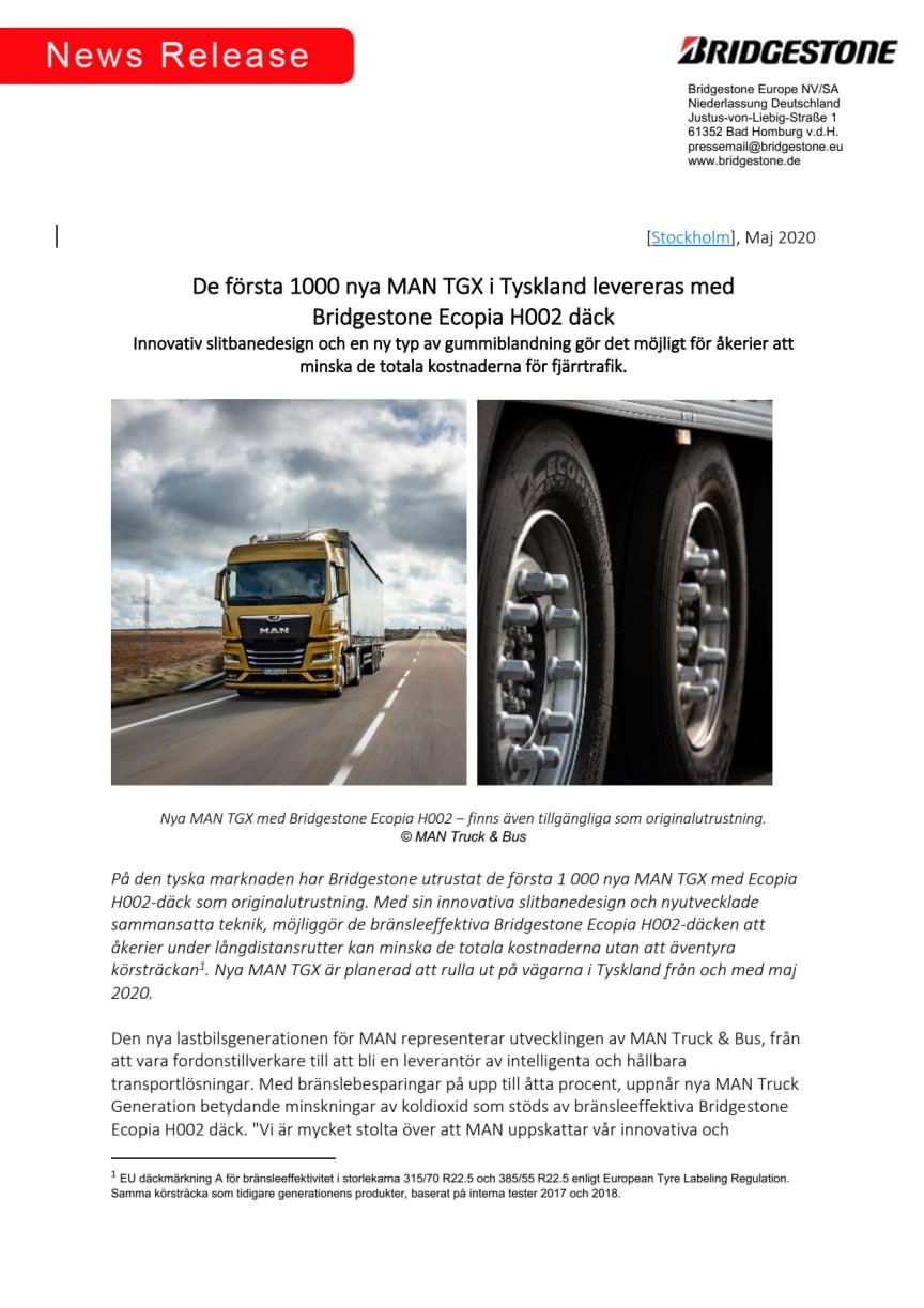 De första 1000 nya MAN TGX i Tyskland levereras med  Bridgestone Ecopia H002 däck