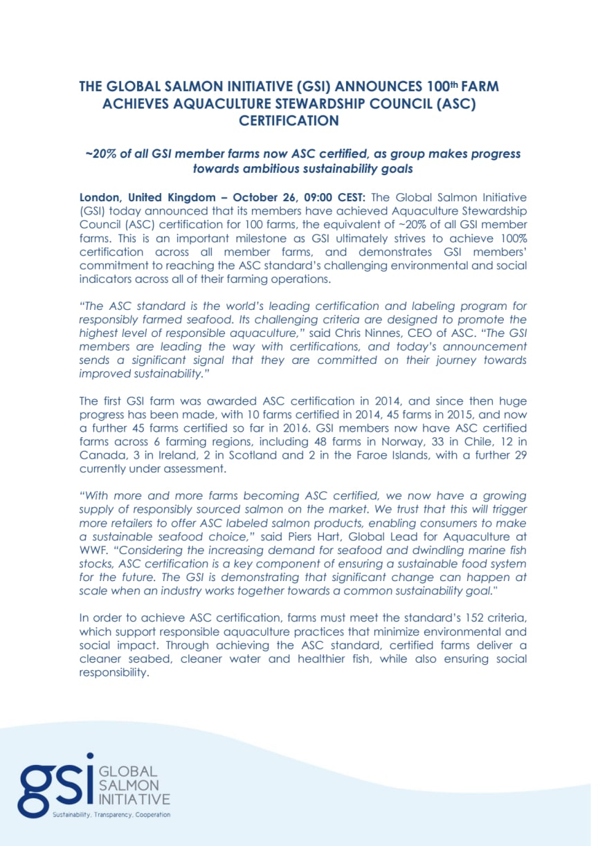 THE GLOBAL SALMON INITIATIVE (GSI) members have reached 100 ASC certified farms