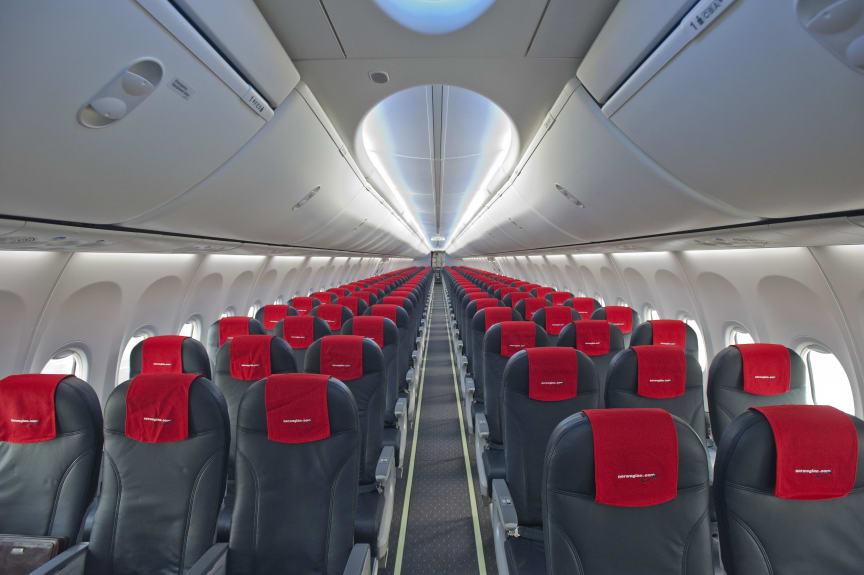 Norwegians första flyg med Boeing SKY interiören