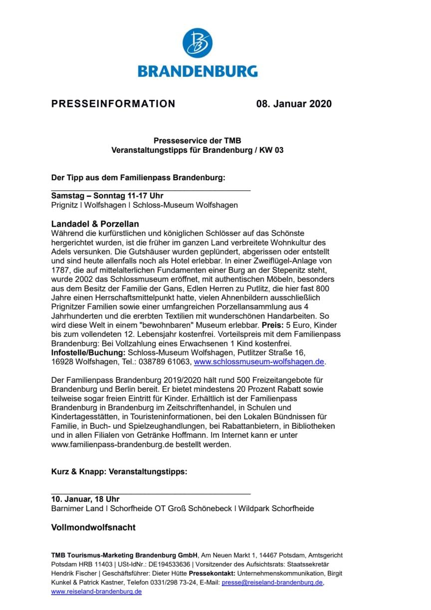 Veranstaltungstipps für Brandenburg / KW 03