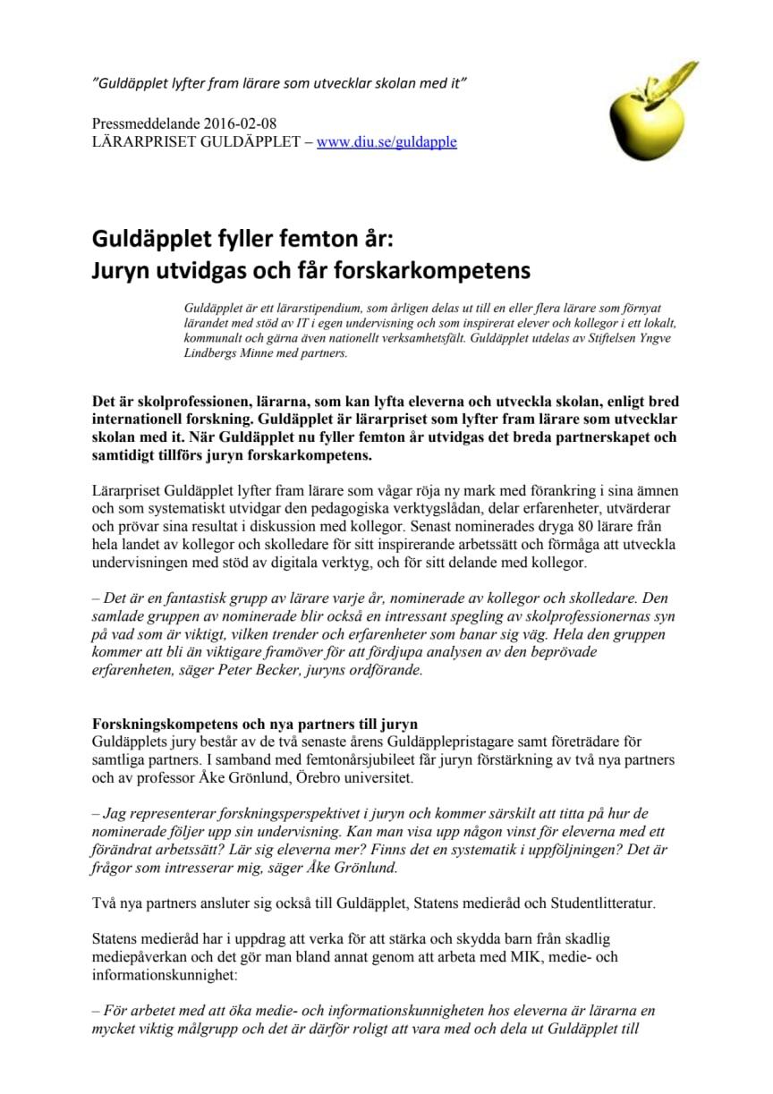 Guldäpplet fyller femton år:  Juryn utvidgas och får forskarkompetens