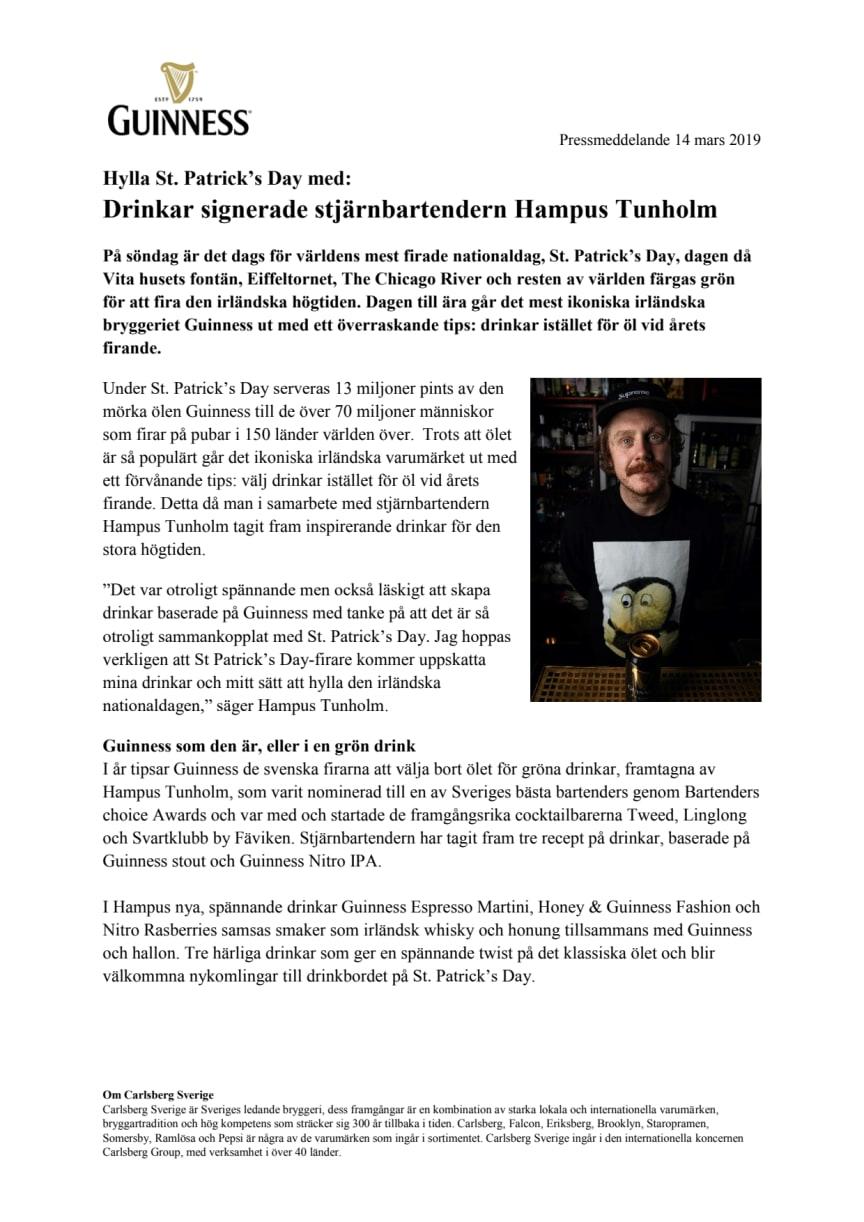 Hylla St. Patrick's Day med: Drinkar signerade stjärnbartendern Hampus Tunholm