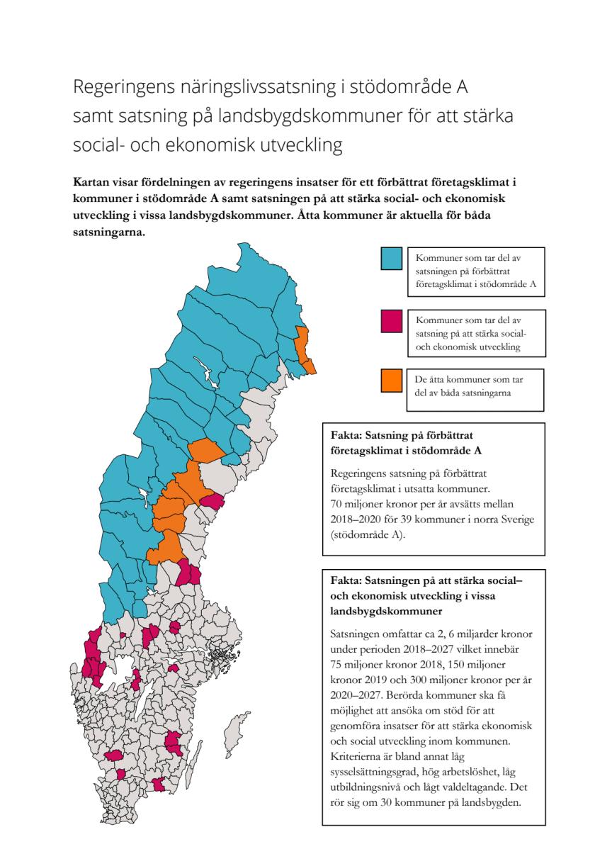 Karta  - fördelning av insatser som stärker socioekonomiskt eftersatta kommuner och områden