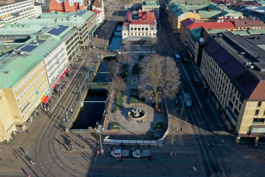 Drönarbild över Brunnsparken inför öppning 17 feb 2020