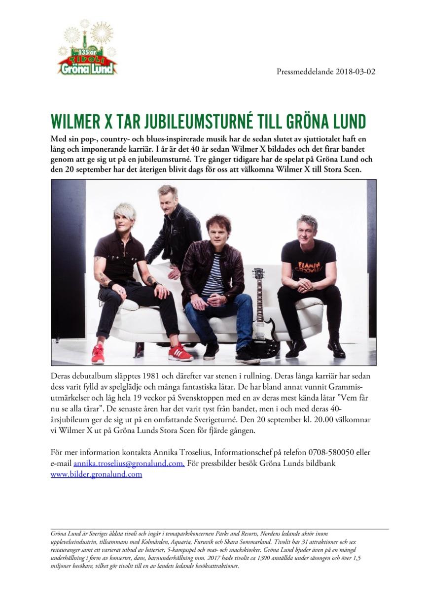 Wilmer X tar jubileumsturné till Gröna Lund